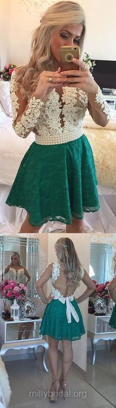 White and Green Homecoming Dresses,A-line Scoop Neck Lace Graduation Dress, Tulle Short/Mini Cocktail Party Gowns,Appliques Lace Long Sleeve Prom Dresses