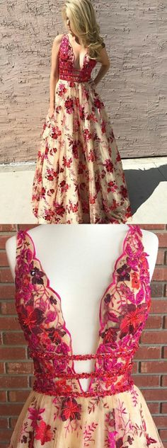 elegant red embroidery prom dress with beading, fashion v-neck flower party dress with appliques