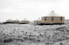 Group of yurts we set up in eastern Montana. Rocking the full glass windows and tinted domes.
