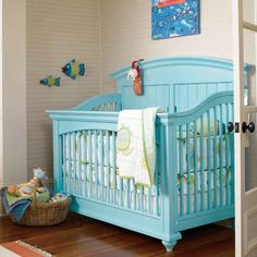 love the teal crib