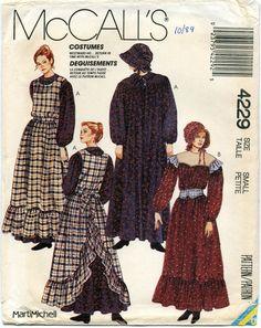 McCall's 4229 UNCUT Vintage Sewing Pattern Misses Pioneer Costume, Prairie Costume, Western Fr Sewing Aprons, Mccalls Sewing Patterns, Vintage Sewing Patterns, Sewing Clothes, Clothing Patterns, Dress Sewing, Pioneer Costume, Pioneer Dress, Costume Patterns