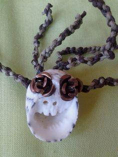 Brown Rasta Seashell Sugar Skull Necklace by RumCay,