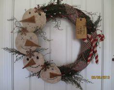 "Primitive Christmas/ Winter Folk Art Country Wreath with Snowmen ""Wynter Thyme"""