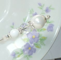 White Pearl and Crystal 6 Hat Pin Stick pin ♥ by joannalaj