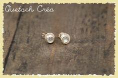 Boucles d'oreilles argent 925 serties de cabochons de pierre de lune en serti clos