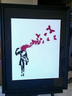 Banksy Cross Stitch by FeralCatStudio on Etsy, $200.00