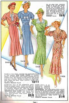 Four wonderful warm weather dresses from Worth's Spring & Summer 1937. #vintage #1930s #fashion #illustrations
