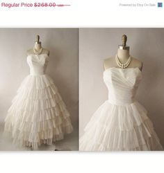 Vintage 1950's Strapless Off White Chiffon Wedding Dress Gown XS.  via Etsy.