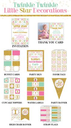 Twinkle Twinkle Little Star Birthday Invitation and Party Decorations by PuggyPrints