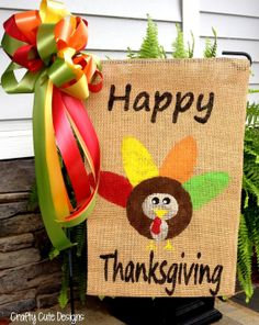 Happy Thanksgiving Burlap Garden Flag w/ matching accent bow