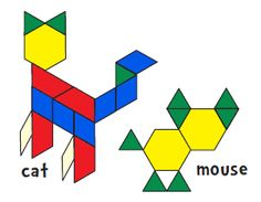 Bonus Pattern Block Designs (Jessica's Corner of Cyberspace) Pattern Block Templates, Pattern Worksheet, Pattern Blocks, Math Patterns, Shape Patterns, Mouse And The Motorcycle, Teaching Geometry, 2d And 3d Shapes, Block Area