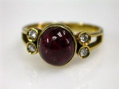 Vintage Spinel and Diamond Ring