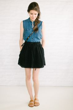 Cool idea for fall wardrobe outfit- sleeveless chambray in blue, eyelet skirt in black and sweet sandals.