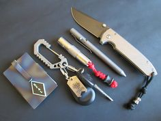 Vox Knives - Ti CC/Money Holder Mike Santor - Al Carabiner Steel...