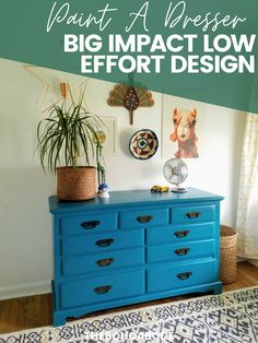 Pin This Ideas! Easy Projects For Big Impact Design - Paint A Bright Teal Dresser TheBohoAbode Project Diy Furniture Cheap, Diy Furniture Projects, Furniture Makeover, Easy Projects, Gray Distressed Furniture, Turquoise Painted Furniture, Teal Dresser, Painted Coffee Tables, Shabby Chic