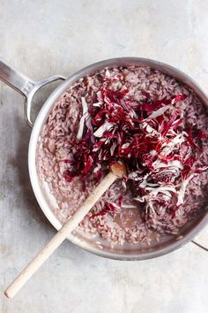 Radicchio slow-simmered with arborio rice + red wine for a classic northern Italian dish, radicchio risotto. Naturally vegan risotto + gluten-free risotto.