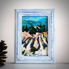 "Original Landscape Painting, ""Lavender fields"" Acrylic Painting, Landscape Art, Original Artwork, Wall Art Canvas, 10cm(w) x 15cm(h) by AngelinaRunkovaArt on Etsy"