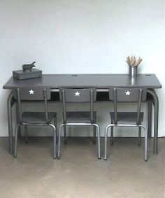 like the chairs painted completely silver/grey and the little stars on the back