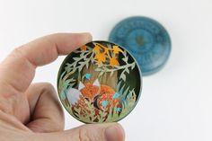 A little fox in a vintage box. Handmade paper cutting. shadow box diorama fairytales paper sculpture