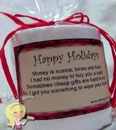 have to remember for those white elephant gift exchanges Toilet Paper Gag Gift (Happy Holidays).have to remember for those white elephant gift exchanges Funny Christmas Gifts, Christmas Humor, Holiday Gifts, Christmas Holidays, Christmas Crafts, Happy Holidays, Holiday Quotes Christmas, Novelty Christmas Gifts, Christmas Ideas