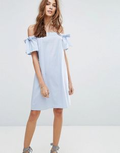 9a1010be7e9c7 New Look Bardot Tie Sleeve Mini Dress Blue Size UK 16 LF182 FF 12  fashion