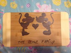 Family mickey and minnie cutting board  on Etsy, $25.00 CAD