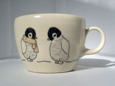 Handmade Ceramic Mug- Penguins Tea Cup- Handmade Coffee Mug- Ceramic Coffee Cup