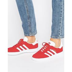 adidas Originals Red Suede Gazelle Trainers ($115) ❤ liked on Polyvore featuring shoes, sneakers, red, lace up sneakers, adidas sneakers, red trainers, suede shoes and lacing sneakers