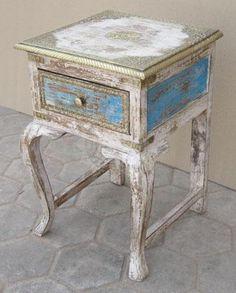 Elephant Original - Indian Painted Stool with 1 Drawer (EI-173) - Indian Furniture | Elephant Interiors