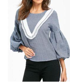 Puff / Bell Sleeve Plaid Ruffled Shirt, Blue