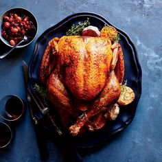 Holiday turkey recipes include classic roasted turkey with giblet gravy and pancetta-wrapped turkey. Plus more holiday turkey recipes. Best Thanksgiving Turkey Recipe, Thanksgiving Side Dishes, Thanksgiving Desserts, Christmas Desserts, Christmas Ideas, Best Roasted Turkey, Wine Recipes, Cooking Recipes, Meat Recipes