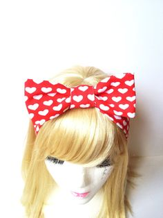 Handmade Lovely Bow Kids Head Band Retro Red Heart Dot Kawaii :) Stretch Comfortable Cute Girl fashion by Love Factory on Etsy, $15.00