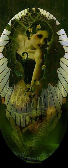 """Absinthe's Garden:  """"Three #Absinthe Fairies,"""" by BlueBlack."""