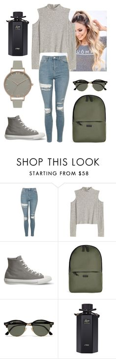 """""""Untitled #389"""" by teodoraivanic ❤ liked on Polyvore featuring Topshop, H&M, Converse, Rains, Ray-Ban, Gucci and Olivia Burton"""