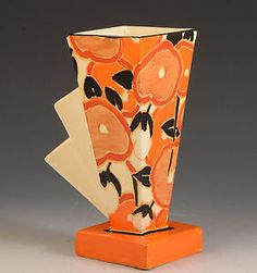 clarice cliff RARE & PERFECT 'ORANGE CHINTZ' 461 VASE C.1933 in Pottery, Porcelain & Glass, Pottery, Clarice Cliff, Decorative/ Ornamental | eBay