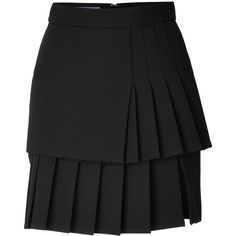 Emanuel Ungaro Wool Crepe Pleated Skirt ($480) ❤ liked on Polyvore featuring skirts, black, black skirt, knee length pleated skirt, panel skirt, tiered skirt and black wool skirt