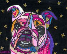 Bulldogs Art  Dog Print  English Bulldog Art by HeatherGallerArt, $24.00