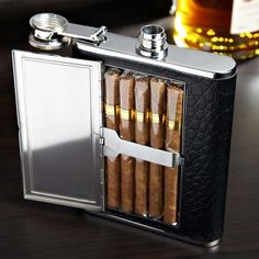 Leather Cigar Flask: Excellent gift idea. Golf course friendly. I would love one of these.