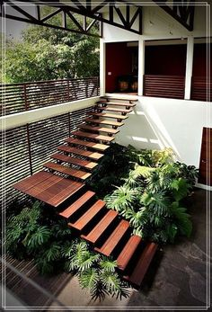 Modern Staircase Design Ideas - Stairways are so usual that you do not provide a reservation. Look into best 10 examples of modern staircase that are as stunning as they are . Garden Stairs, House Stairs, Terrace Garden, Facade House, Rustic Outdoor Decor, Country Modern Home, Design Exterior, Modern Stairs, Modern Buildings