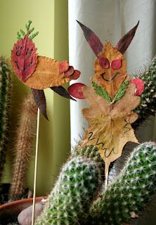 Puppets with leaves and found treasures from nature.