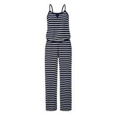 Gestreifer Jersey-Overall im maritimen Look. #overall #jersey #maritim #blau