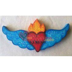 Winged Flaming Heart (wood), by Annette Armas. www.ArtedeNuestroCorazon.com
