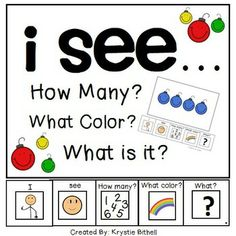 I see... how many? what color? what is it? Ornament Edition Adapted Book, perfect for SLP to use with Special Education Students/ Autism.