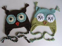 Crocheted owl infant hats...*GASP* sooo adorable! :D