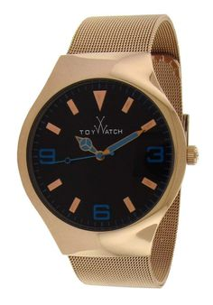 ToyWatch Watches Mesh Time Black Dial Gold IP Stainless Steel MH01PG,    #ToyWatch,    #MH01PG,    #Casual