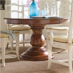 """60"""" Round Hand Carved Mahogany Pedestal Dining Table French Simple Heritage Dining Room Furniture Decorating Inspiration"""