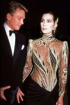 Designer Bob Mackie and the singer and actress Cher attend the Costume Institute Gala at the Metropolitan Museum of Art, New York, New York, Get premium, high resolution news photos at Getty Images Donatella Versace, Gianni Versace, Iconic Dresses, Gala Dresses, Red Carpet Dresses, Nice Dresses, Formal Dresses, Vintage Dresses, Rihanna