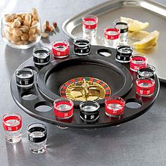 @Overstock - Game Night Shot Glass Large Roulette Set - Elevate your party with this set from Game Night. Featuring 16 shot glasses and game board, this shot glass roulette set is perfect for any grownup get together.    http://www.overstock.com/Home-Garden/Game-Night-Shot-Glass-Large-Roulette-Set/5202919/product.html?CID=214117  $23.99