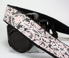 Camera Strap, Pink Lace 2, Black, White, dSLR, SLR.