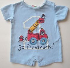Miniwear Go Fire Truck Romper - size 0-3m baby boy - shipping included